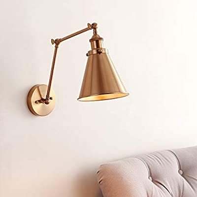 """JONATHAN Y JYL7461A Rover 7"""" Adjustable Arm Metal Wall Sconce Classic,Glam,Industrial,Transitional 2700K LED 4W Bulbs for Bedroom Livingroom Bathroom Hallway, 7"""", Gold"""