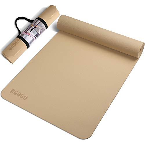 OGOGO ヨガマット 人気 トレーニングマット 高密度 TPE素材 エクササイズマット 厚さ 6mm 筋トレ スポーツマット 滑り止め 収納ストラップ
