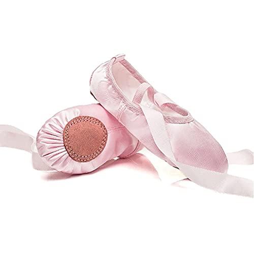 Zapatos de Ballet para niñas, Planos de Ballet Suela de Cuero Zapatillas de Baile para niños pequeños Mujeres (Color : Pink, Size : 36 EU)