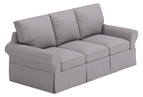 Dense Cotton Sleeper Cover. It Fits Pottery Barn PB Basic Three Seat Sleeper Sofa Bed. A Quality 3 Seater Sofa Bed Slipcover (Light Gray Durable)