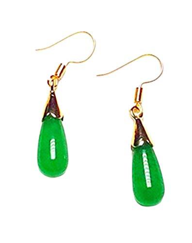 Handgefertigte, natürliche grüne Jade-Ohrringe, 14 Karat vergoldet, baumelnde Haken-Ohrringe