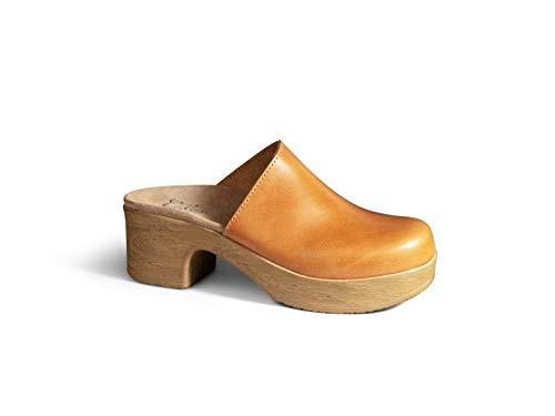 Calou Stockholm Clog Soft Low Heel - Swedish Clogs- Woman Clogs Lea Brown (41 EU, Braun (Camel))