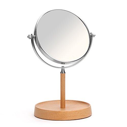 Zxwzzz Makeup Mirror Wooden Desktop Mirror European Simple Dressing Mirror Desktop Flip Mirror HD Double Sided Mirror 6 Inches