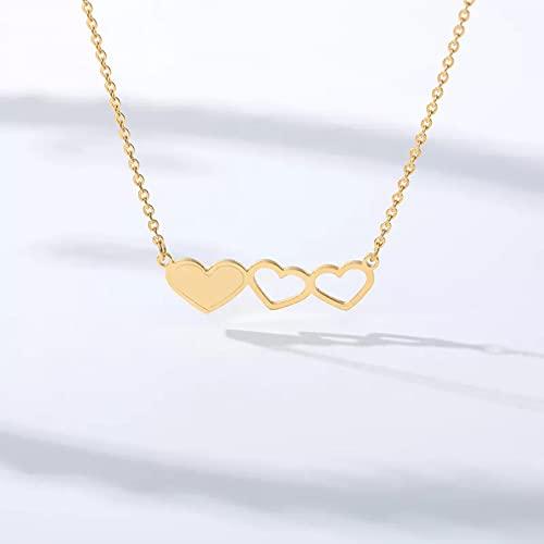 QiuYueShangMao Collar con Colgante de corazón de Amor para Mujer, Collar de Gargantilla de Cadena de Oro de Acero Inoxidable, Accesorios de joyería, Regalo de Dama de Honor Collar de la Amistad