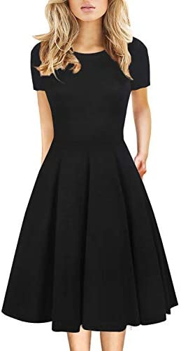 Prime Wardrobe Womens Clothing Little Black Dress 50s Vintage Casual Round Neck Work Party A product image