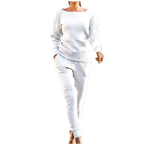 MEITING Damen Sportanzug Trainingsanzug Mode 2-teiliges Set Langarm Oberteil Top + Lange Hose Schlafanzug Loungewear mit Taschen Jogginganzug Sportbekleidung Freizeitbekleidung Outfit