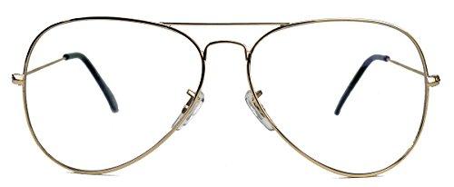 Klassische Pilotenbrille für Damen o Herren Nerdbrille 80er Jahre Brillengestell Klarglas AVN (Gold)