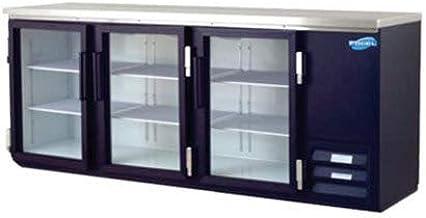 Back Bar Bottle Coolers, Refridgerant, 3 Glass Doors with 6 Shelves, 26 Cubic Feet