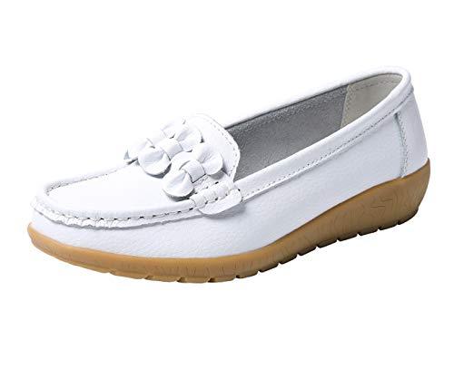 Gaatpot Flat Schuhe Damen Leder Bootsschuhe Mokassins Slipper Freizeit Halbschuhe,Weiß,EU 37 =CN 38