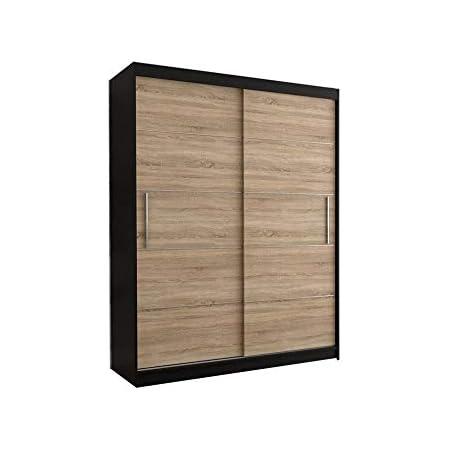 E-MEUBLES Armoire de Chambre avec 2 Portes coulissantes + eléments décoratif en aliminium   Penderie (Tringle) avec étagères (LxHxP): 150x200x61 LARA 06 (Noir + Sonoma)