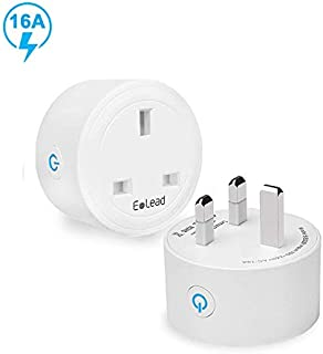 ELEAD 16A Smart Plug WiFi Plug Outlet Socket Extension Mini Timer Remote Control Plugs for Air Conditioner Home High-power Appliance Supports 2.4GHz Network Compatiable with Alexa, Google Home(2 Pack)