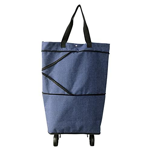 Suny Smiling Faltbare Einkaufstasche mit Rädern, Faltbare Trolley-Tasche auf Rollen für Frauen, Einkaufstrolley