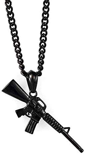 FACAIBA Collar Collar de Acero Inoxidable Collar de policía Accesorios para Hombres Rifle de Hip Hop Blanco-Negro Collar con Colgante de Acero de Titanio Regalo para Mujeres Hombres