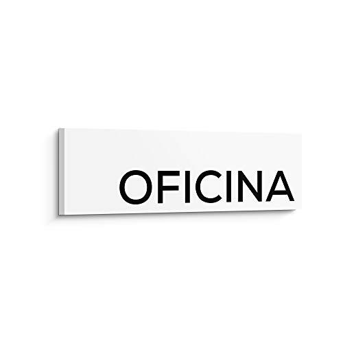 Placa de Señalización Oficina - Color Blanco - 25 x 8 x 0.5 cm - PVC - Adhesiva - Señalética Indicativa - Señalización para Pared y Puerta