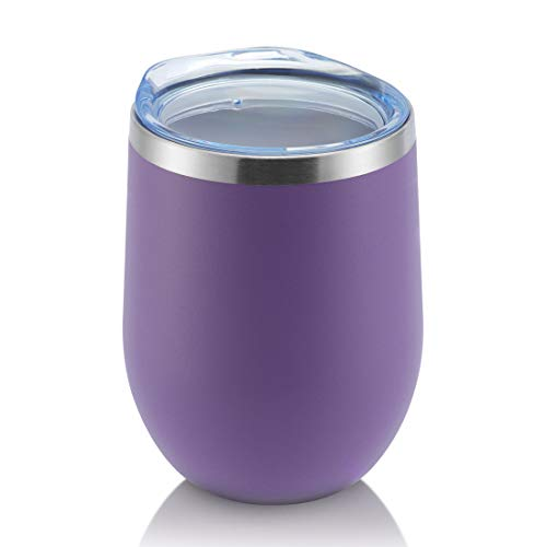 DOMICARE Insulated Wine Tumbler with Lid (1 Pack, Purple) - 12 OZ Stemless Double Wall Vacuum Traval Mug - Keeping Cold & Hot for Wine, Coffee, Cocktails, Drinks