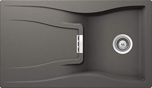 SCHOCK hochwertige Küchenspüle 86 x 50 cm Waterfall D-100 Silverstone - CRISTADUR graue Spüle mit Abtropffläche ab 50 cm Unterschrank-Breite