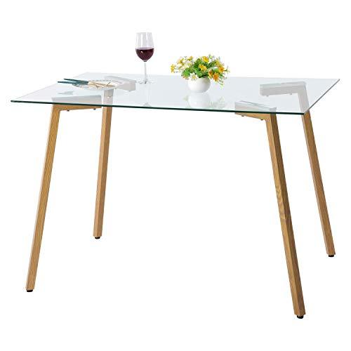 H.J WeDoo Table de Salle à Manger en Verre Rectangulaire Moderne Table de Cuisine et Pieds en Bois Salon Bureau 110 x 70 x 75 cm