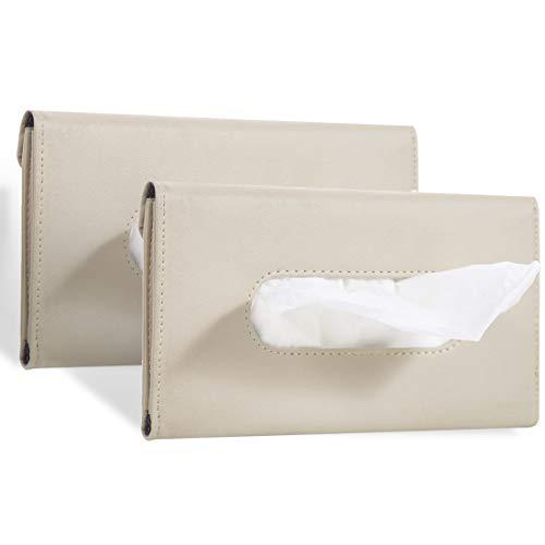 Eiqer 2 Pcs Car Tissue Holder Visor, Sun Visor Napkin Holder, Tissue Box Holder, PU Leather Tissue Box, Tissue Case Holder for Car - Beige