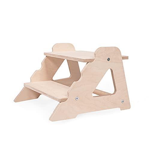 Kinder Tritthocker Zweistufig aus natürlichem Holz   modernes Design Stockerl für Kinder   Sicher und universell Kinderschemel 2 Stufen   100{1317d1cc67a467ed5626af959ec3b758287f0844c051950a4c262157ea7b55cd} ECO   Made in EU