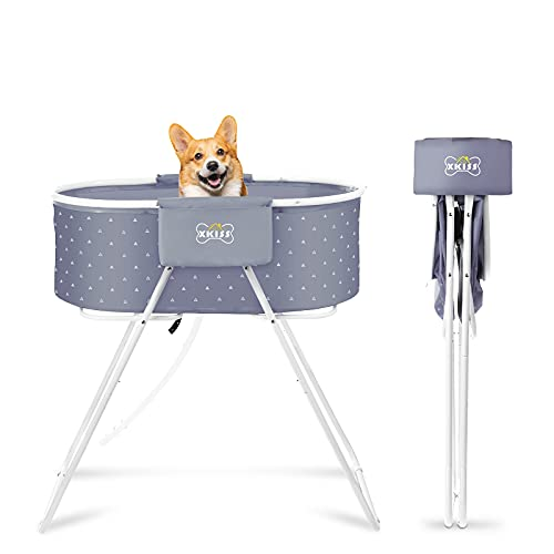 XKISS Dog Bath Tub,Foldable and Easy to Carry Elevated Pet Shower Tub,Used for Pet Bathing, Grooming, Indoor and Outdoor, Suitable for Small and Medium-Sized Dogs, Cats and Other Pets…