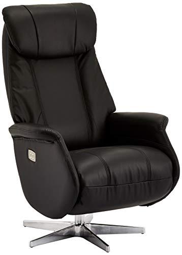 Ibbe Design zwart leer draaibare relaxstoel met elektrisch verstelbare relaxfunctie en voetdeel Stressless televisiestoel Bonanza, 76x83x115 cm