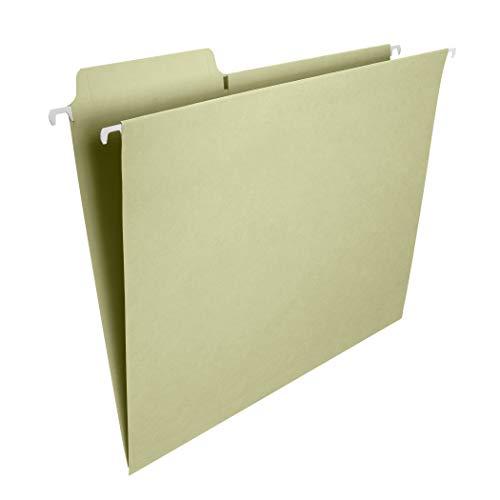 Smead FasTab Hanging File Folder, 1/3-Cut Built-in Tab, Letter Size, Moss, 20 per Box (64082)