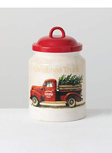 Sullivans Gygi Red Truck Canister, Darren Gygi Red Christmas Truck Holiday Cookie Jar Canister (PN3283)