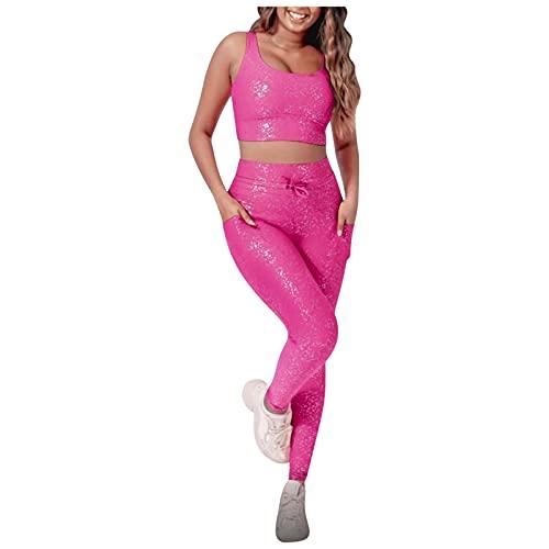 YANFANG Traje De Yoga ImpresióN Estampado En Caliente Verano para Mujer Moda Deportiva,Conjunto Ropa,Ropa Sin Mangas Y Pantalones Casual Set Suave CóModo,Rosa Fuerte,XL