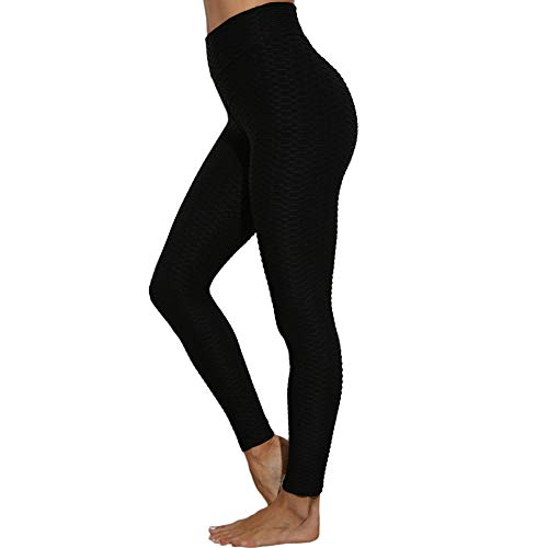 SotRong Damen Hohe Taille Strukturierte Yogahosen Geraffte Sportgamaschen Bauchkontrolle Po Lifting Stretch Laufhose Schwarz S
