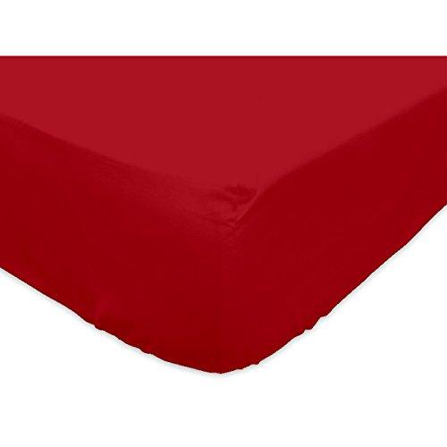 Soleil d'ocre Lenzuolo con Angoli 90 x 200 cm in Cotone SO Rosso