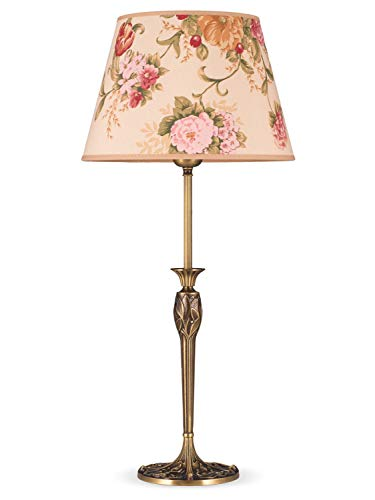 Helios Leuchten 493096/3 Vintage Lampe Leuchte   große klassische Jugendstil Tischleuchte Tischlampe   Retro Schreibtischlampe echt Messing antik Altmessing   Lampenschirm geblümt   1 x E27