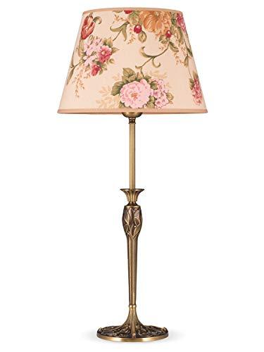 Helios Leuchten 493096/3 Vintage Lampe Leuchte | große klassische Jugendstil Tischleuchte Tischlampe | Retro Schreibtischlampe echt Messing antik Altmessing | Lampenschirm geblümt | 1 x E27