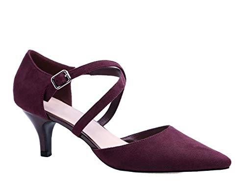 Greatonu Mujer Zapatos de Tacón Kitten Heel Tiras Cruzadas Puntiagudo de Salón Burgund Talla 37