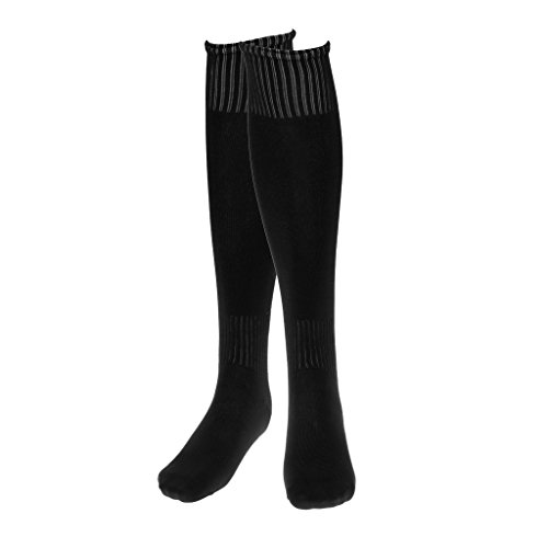 Generic Imported Sports Running Football Soccer Plain Long Socks Over Knee High Socks (Black)