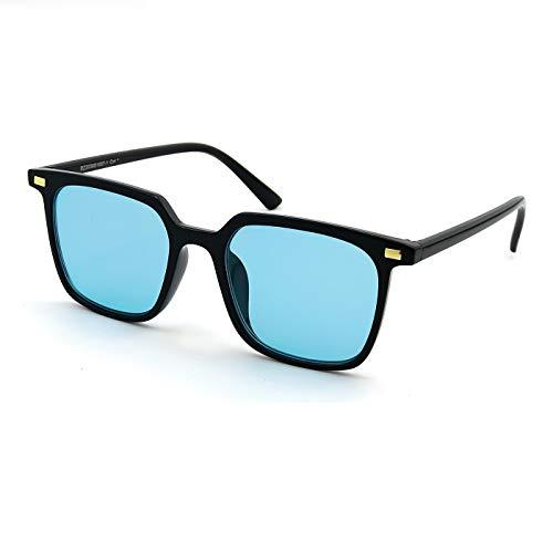 KISS Gafas de sol Moda mod. HALL - hombre mujer HIPSTER square iron man VINTAGE - NEGRO/Azul