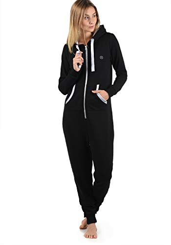 DESIRES Benna Damen Jumpsuit Overall Einteiler Mit Kapuze, Größe:XL, Farbe:Black (9000)