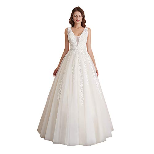Abaowedding Women's Wedding Dress for Bride Lace Applique Evening Dress V Neck Straps Ball Gowns Ivory US 12 (Apparel)