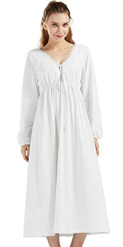 Nanxson 100% Baumwolle Nachthemd Vintage Viktorianisch Nachtwäsche Lange Ärmel Nachtkleid für Damen SQW0010 (S, Weiß-03)