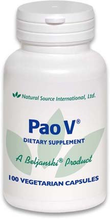 Pao V®, A Beljanski® Product, Promotes Healthy Cells, prohibits Abnormal Cell Growth and Supports The Body's own Immune and detoxification Systems. 100-125 mg Capsules containing Pao Pereira Extract.