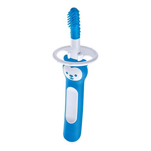 MAM Massaging Brush ZEDMM702M Zahnbürste für die Reinigung der Oral des Kindes, 3 Monate, Blau