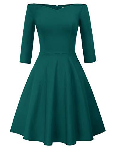 GRACE KARIN Kvinnor 50-tal vintage Hepburn retro off-shoulder a-line klänning sommar stretchig gunga fin fest cocktailklänning