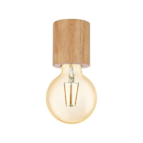 EGLO Deckenleuchte Turialdo, 1 flammige Aufbauleuchte Industrial, Vintage, Modern aus Holz und Stahl, Deckenlampe in Natur, Schwarz, Aufbaulampe mit E27 Fassung