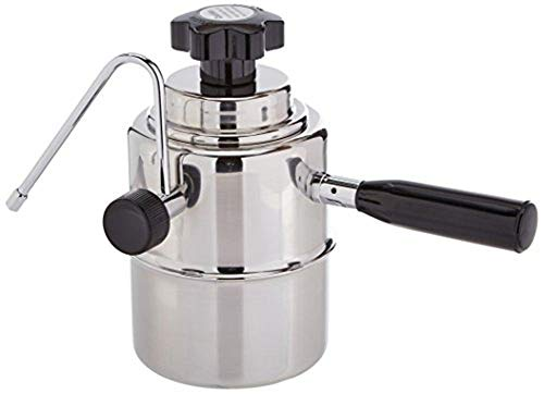 European Gift 50SS Stainless Steel Stove Top Cappuccino Steamer, Black and Silver; Perfect for Frothing Cappuccino, Latte or Chai Tea; Heavy 18/10 Stainless Steel; Bakelite Handle and Knob