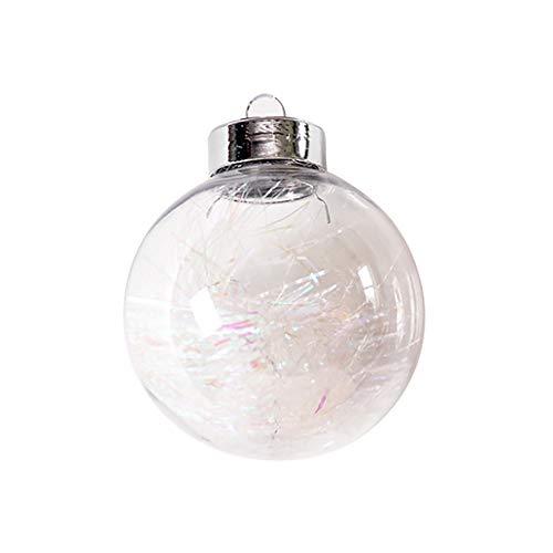 XHONG 6 bolas de adornos de Navidad transparentes, de plástico, rellenables, para decoración de árbol de Navidad, bolas de árbol rellenables para bodas, fiestas, decoración del hogar