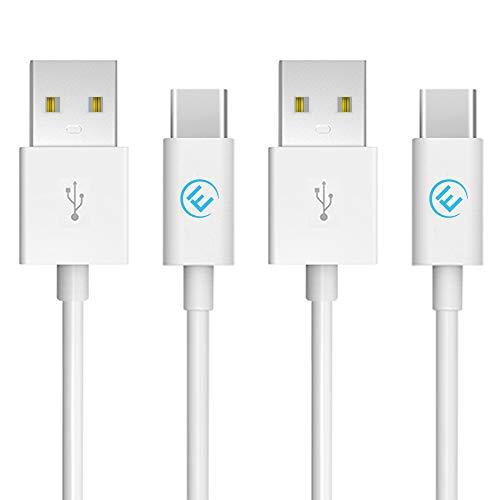 EVOMIND Cable USB Tipo C [2x1M] Carga rápida 3A y Sincro - Cable Type-C para Samsung Galaxy S20/S10/S9/ Note 10/9, Xiaomi Mi 10/9/ Redmi Note 9, Controlador PS5/Xbox Series X/S, etc. - 2x1M Blanco