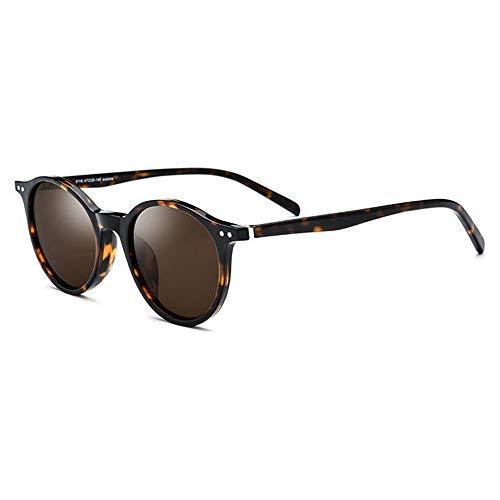 TYXL Sunglasses Marco De Placa De Leopardo Gafas De Sol Polarizadas Mujer Gafas De Sol Retro Redondas Protección UV400