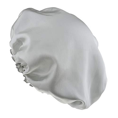 Baoblaze Seide Schlafmütze Nachtmütze Kopfbedeckung Schlafhaube Nacht Mütze Nachtkappe - Silber
