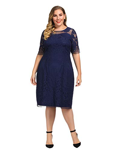 Chicwe Women's Plus Size Lined Floral Lace Dress - Knee Length Casual Party Cocktail