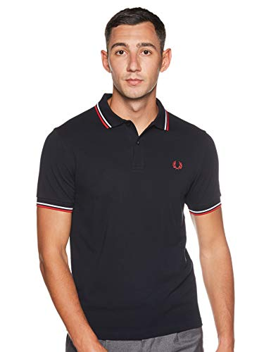 Fred Perry Men's Slim Fit Twin Tipped Shirt, Navy/White/Red, Large