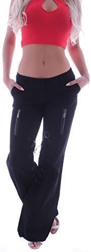 Damen Marlene Bootcut Schlaghose Stoffhose Flared Bootcutjeans Schlag-Jeans Hüft-Hose-n Tiefsitzend-e Großer Mega Schlag-Hose-n Stoff-Hose-n Boot-Cut sehr Weite-s Bein gr größe schwarz-e M 38